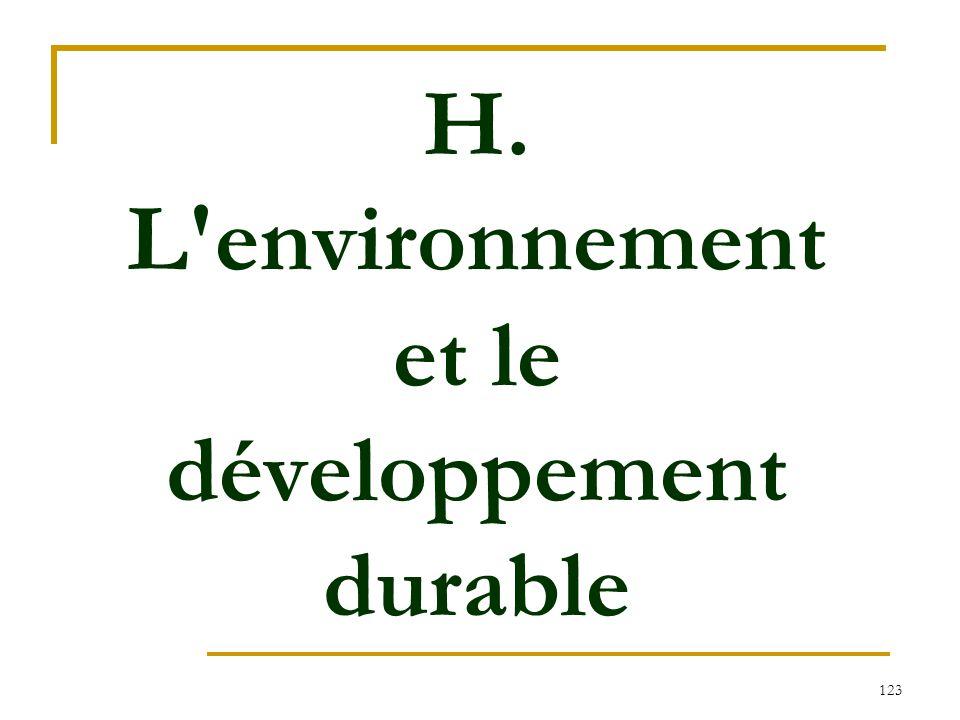 H. L environnement et le développement durable
