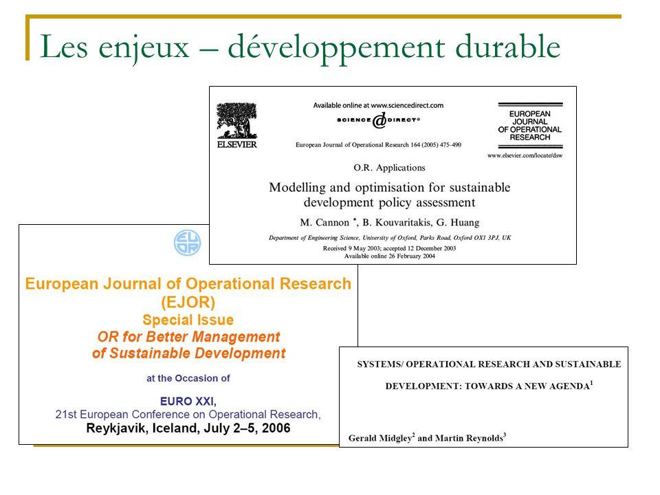Les enjeux – développement durable