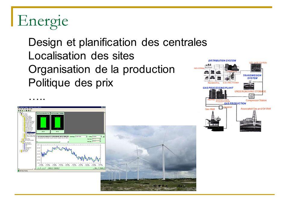 Energie Design et planification des centrales Localisation des sites