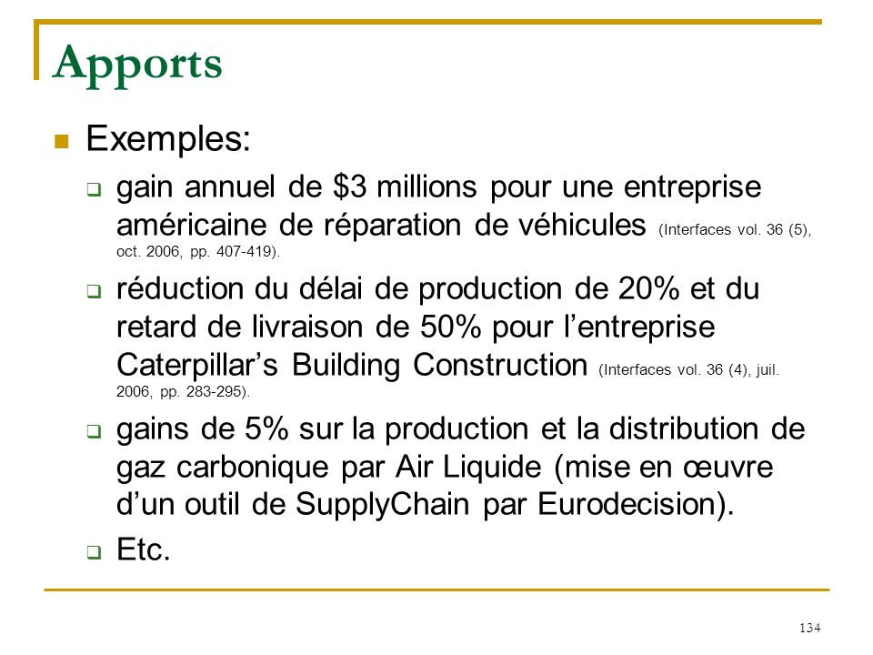 Apports Exemples:
