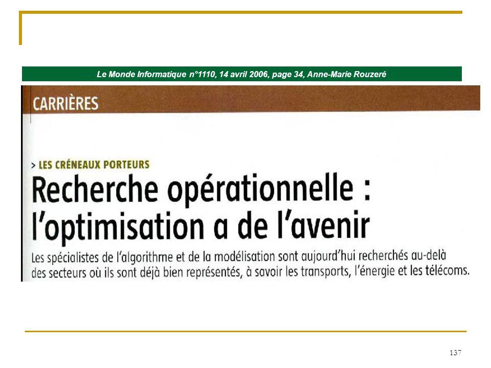 Le Monde Informatique n°1110, 14 avril 2006, page 34, Anne-Marie Rouzeré