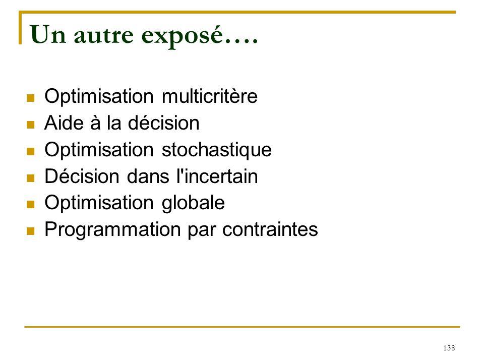 Un autre exposé…. Optimisation multicritère Aide à la décision