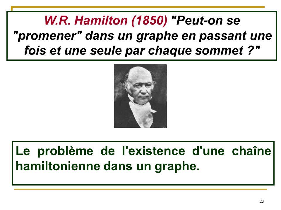 W.R. Hamilton (1850) Peut-on se promener dans un graphe en passant une fois et une seule par chaque sommet