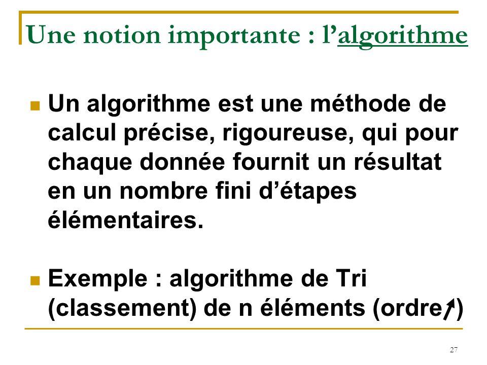 Une notion importante : l'algorithme