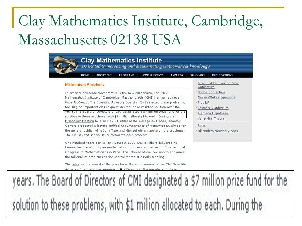 Clay Mathematics Institute, Cambridge, Massachusetts 02138 USA