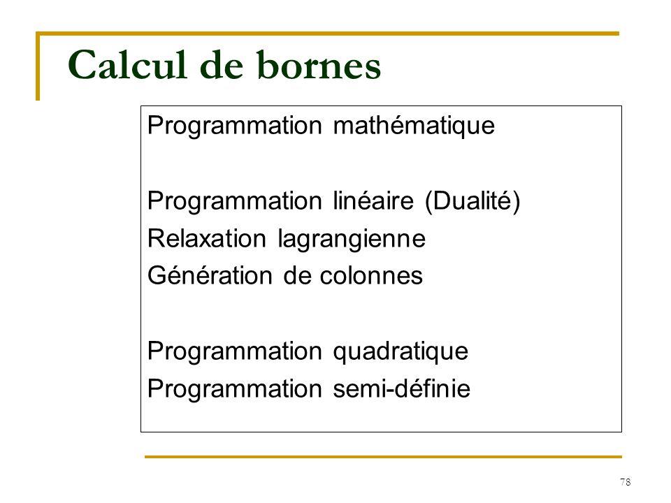 Calcul de bornes Programmation mathématique