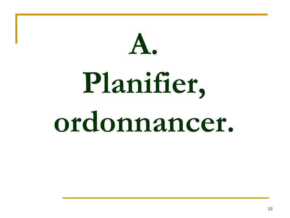 A. Planifier, ordonnancer.