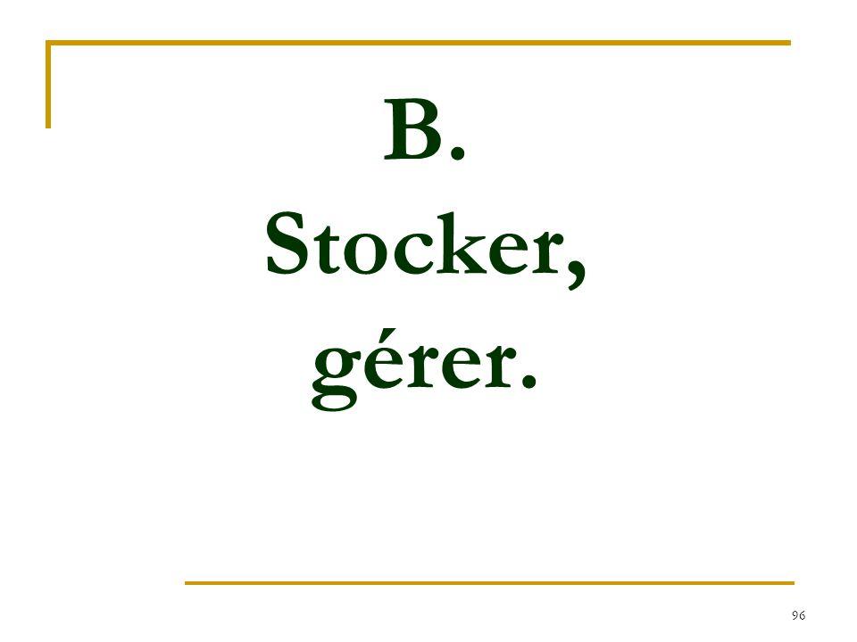 B. Stocker, gérer.