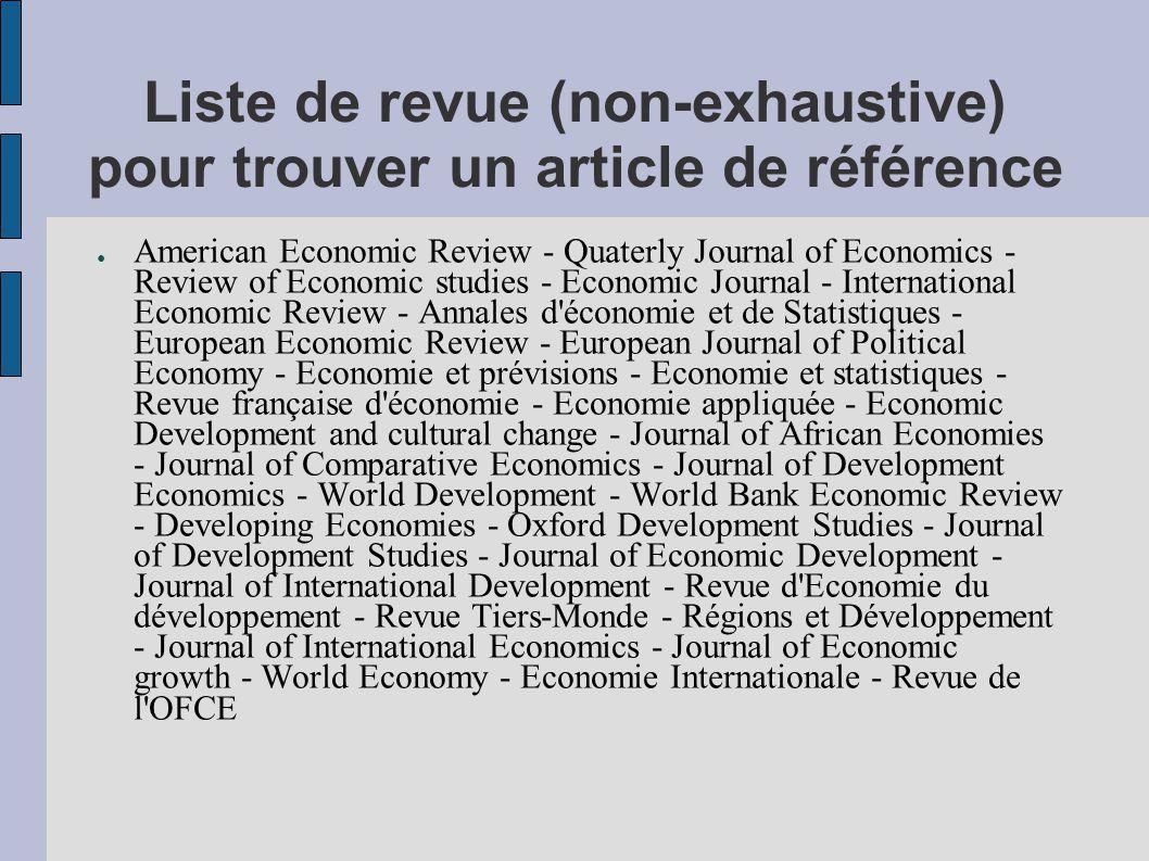Liste de revue (non-exhaustive) pour trouver un article de référence