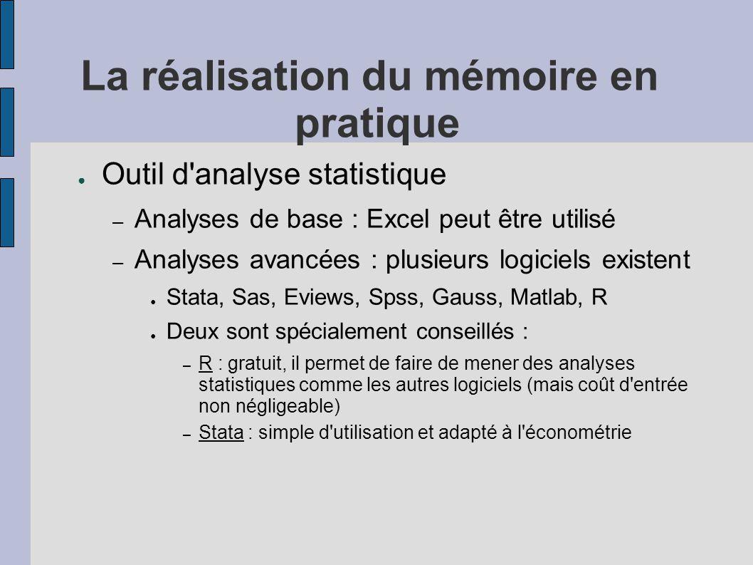 La réalisation du mémoire en pratique