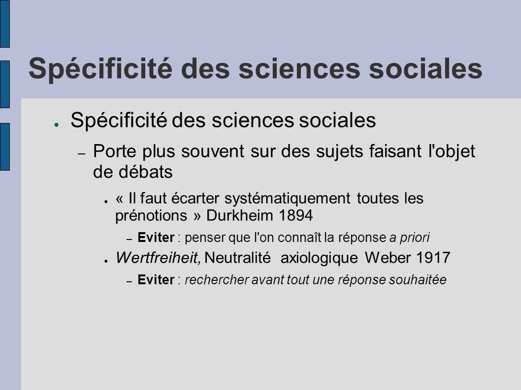 Spécificité des sciences sociales