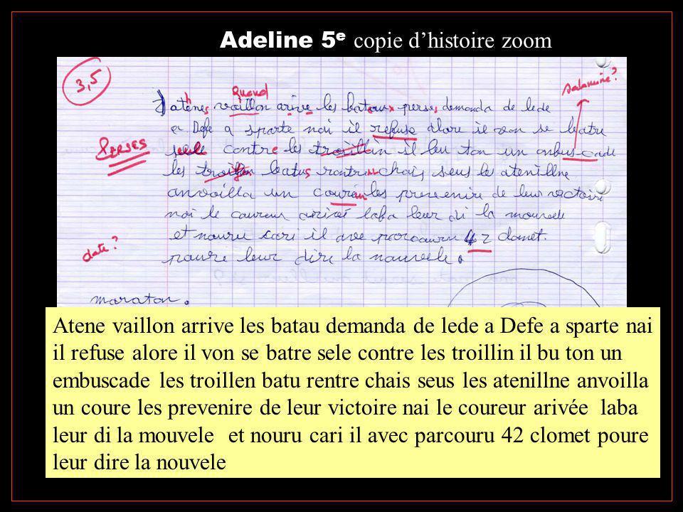 Adeline 5e copie d'histoire zoom