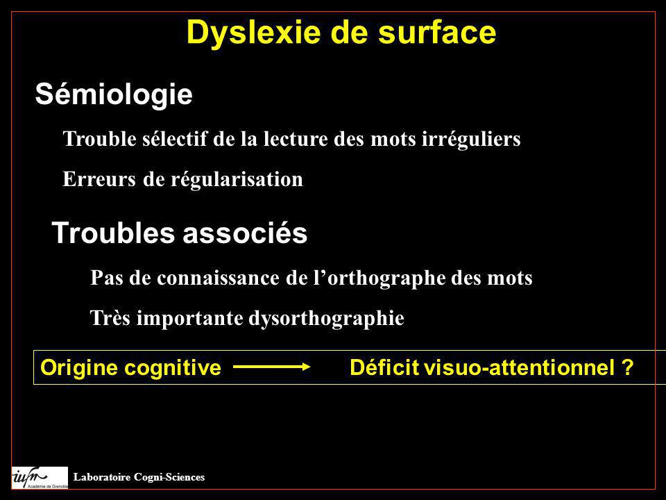 Dyslexie de surface Sémiologie Troubles associés