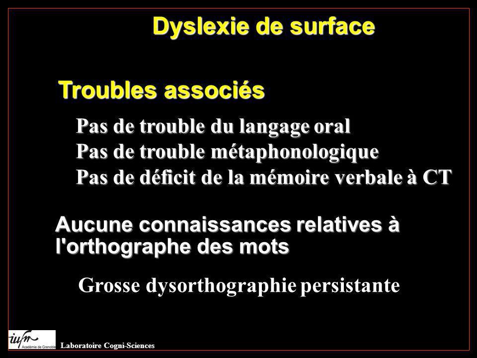Dyslexie de surface Troubles associés Pas de trouble du langage oral