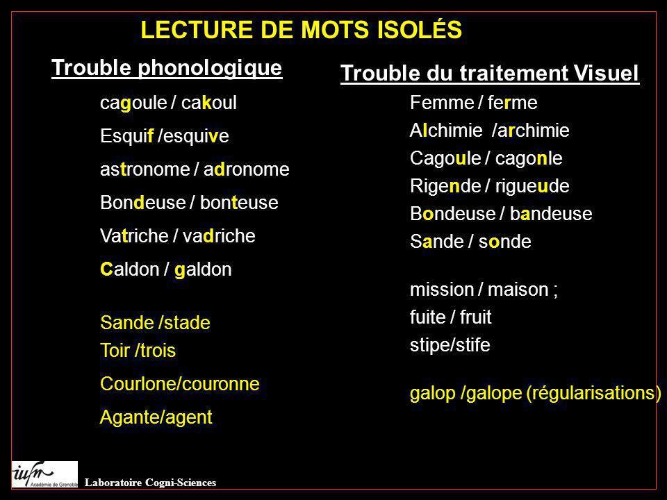 LECTURE DE MOTS ISOLÉS Trouble phonologique