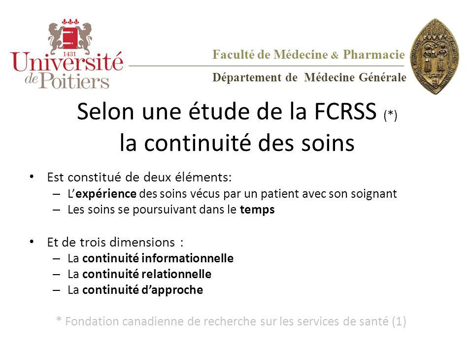 Selon une étude de la FCRSS (*) la continuité des soins