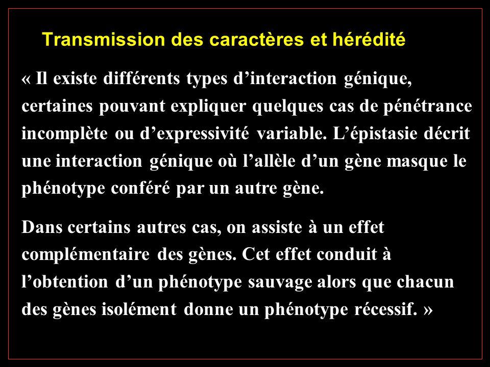 Transmission des caractères et hérédité