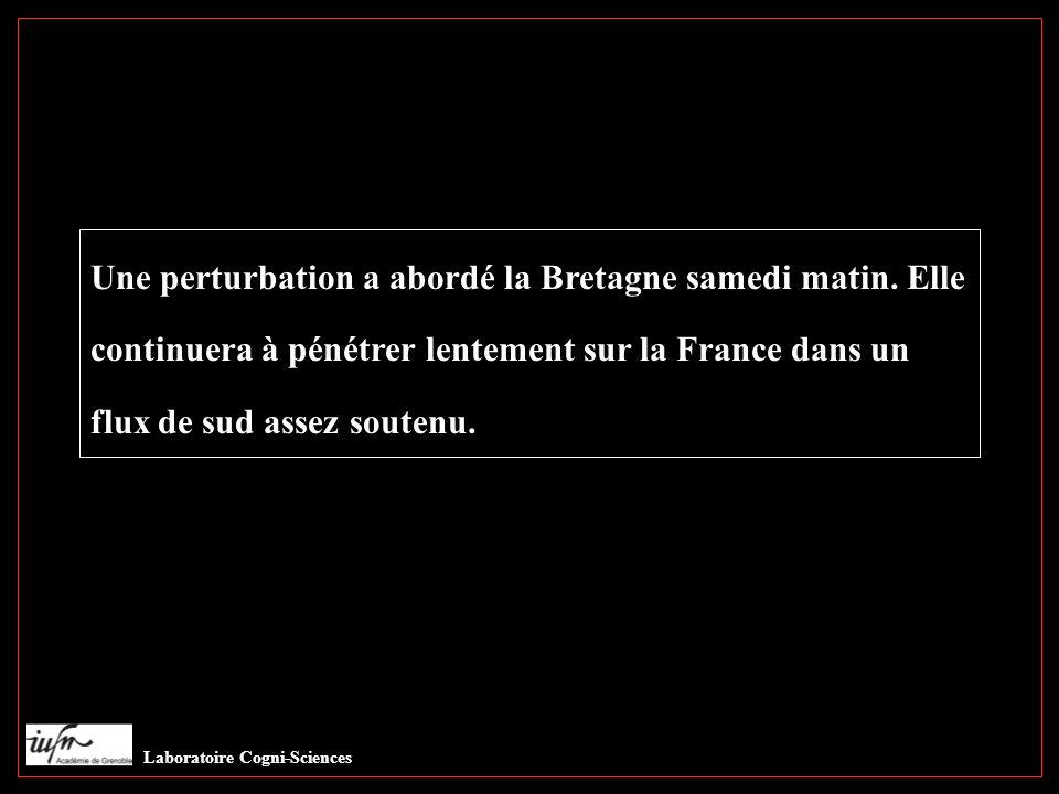 Lec norm Une perturbation a abordé la Bretagne samedi matin. Elle continuera à pénétrer lentement sur la France dans un flux de sud assez soutenu...