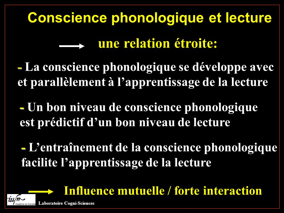Conscience phonologique et lecture