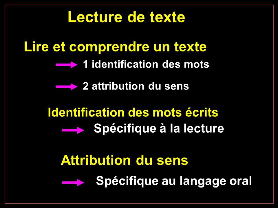 Lecture de texte Lire et comprendre un texte Attribution du sens