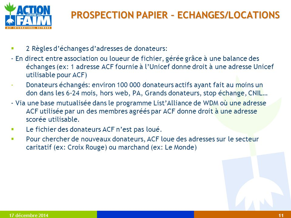 PROSPECTION PAPIER – ECHANGES/LOCATIONS