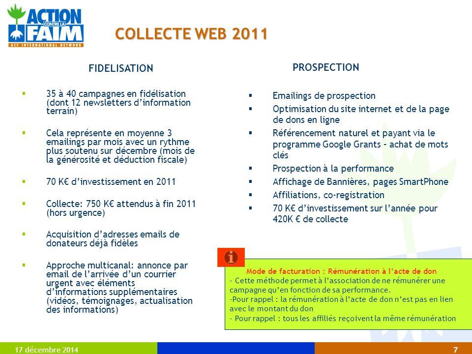 COLLECTE WEB 2011 FIDELISATION PROSPECTION