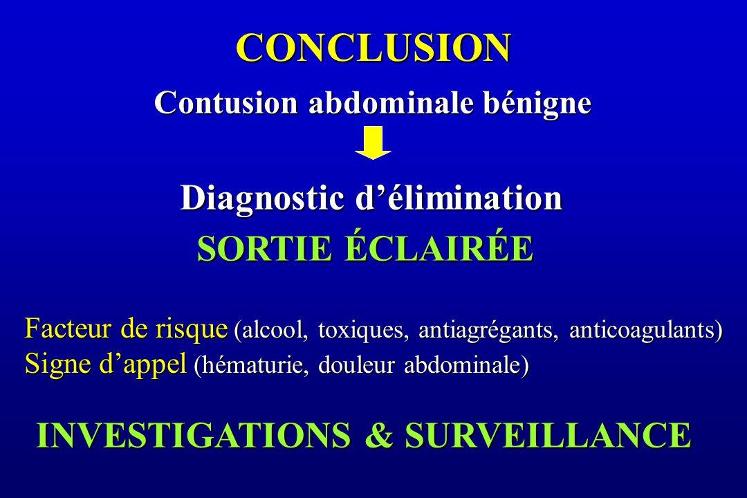 CONCLUSION Diagnostic d'élimination SORTIE ÉCLAIRÉE