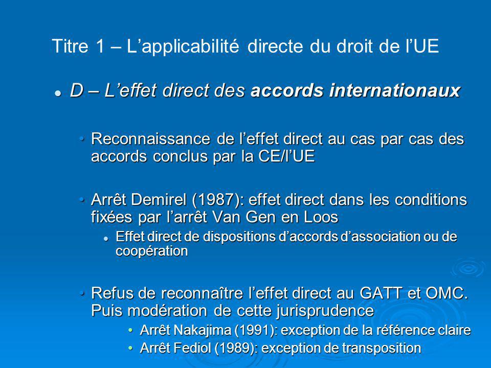 Titre 1 – L'applicabilité directe du droit de l'UE