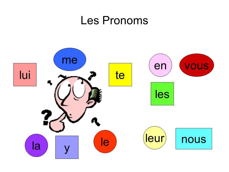 Les Pronoms me en vous lui te les leur nous le la y