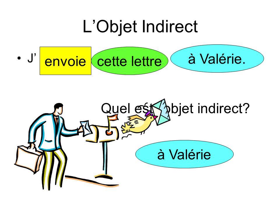 L'Objet Indirect à Valérie. envoie cette lettre
