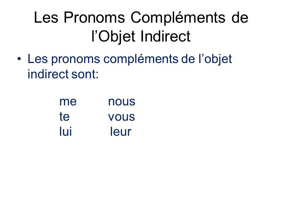 Les Pronoms Compléments de l'Objet Indirect