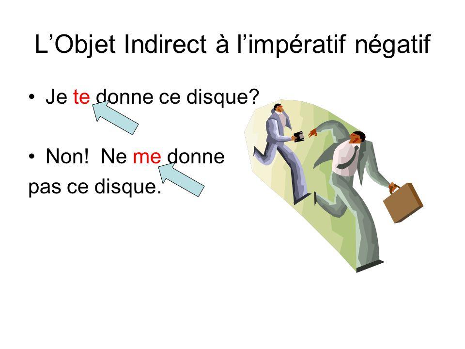 L'Objet Indirect à l'impératif négatif