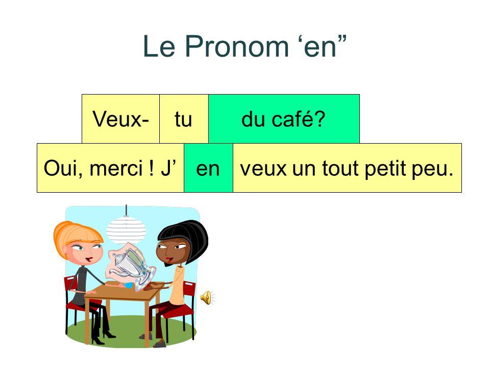 Le Pronom 'en Veux- tu du café Oui, merci ! J' en