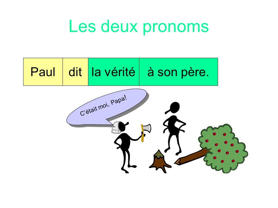 Les deux pronoms Paul dit la vérité à son père. C'était moi, Papa!