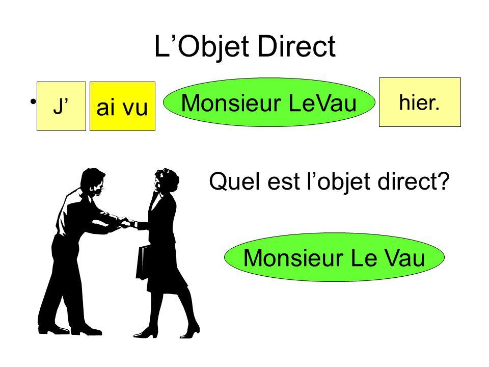 L'Objet Direct Monsieur LeVau ai vu Quel est l'objet direct