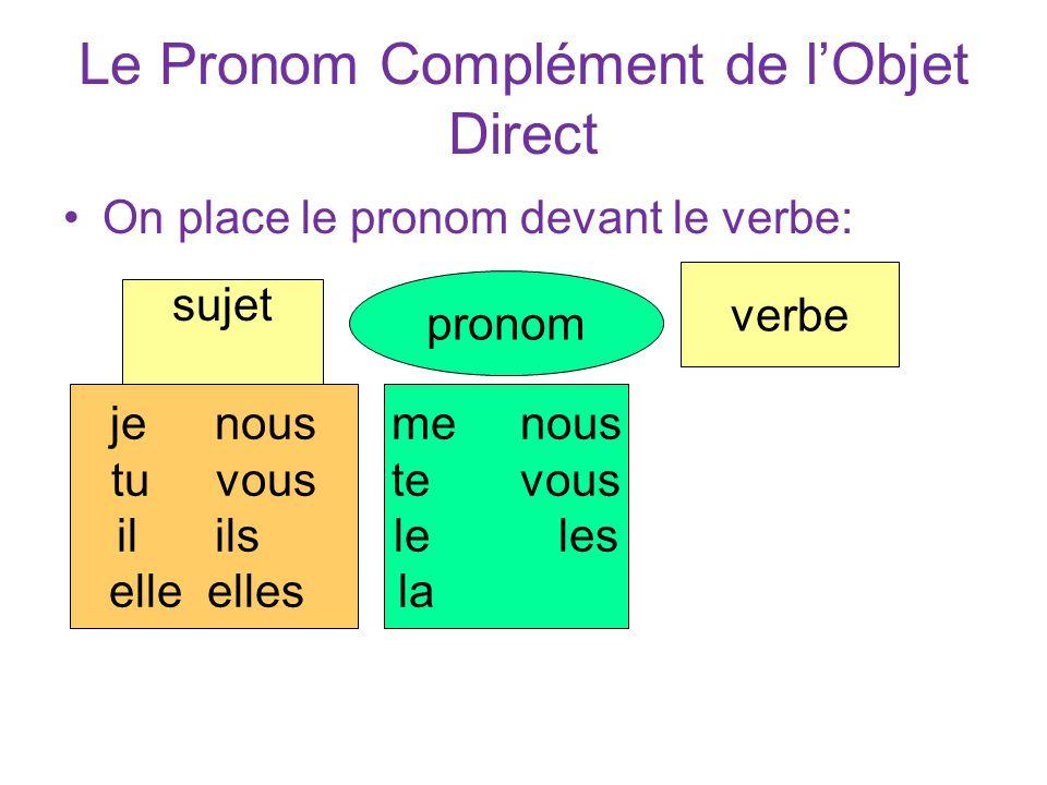 Le Pronom Complément de l'Objet Direct