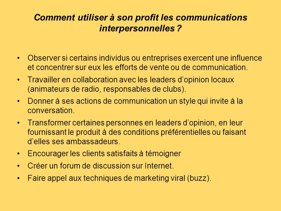 Comment utiliser à son profit les communications interpersonnelles