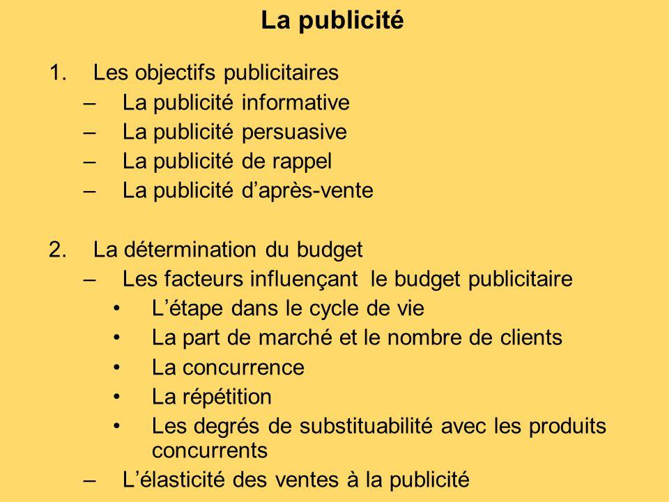 La publicité Les objectifs publicitaires La publicité informative