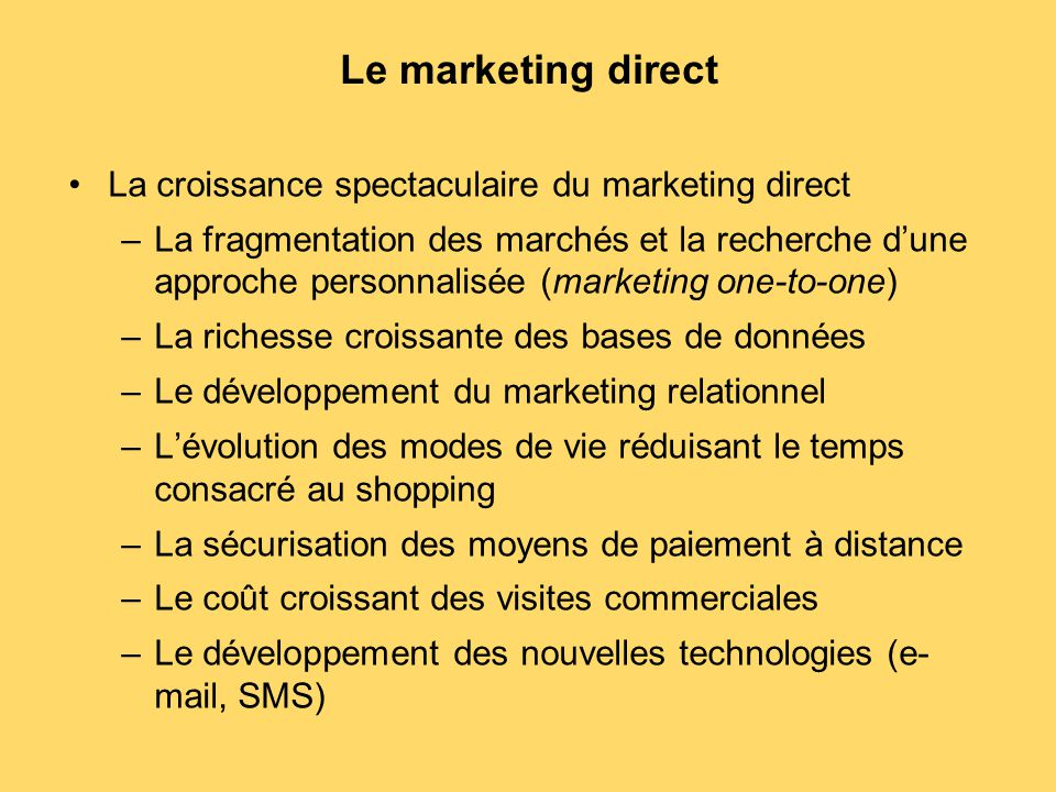 Le marketing direct La croissance spectaculaire du marketing direct