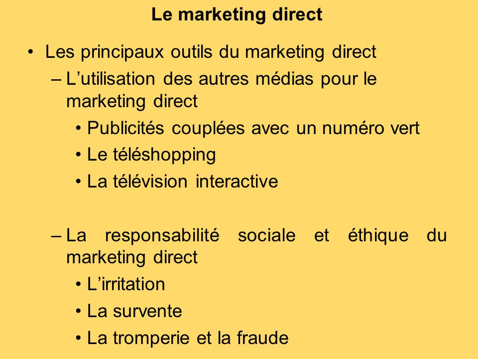Les principaux outils du marketing direct