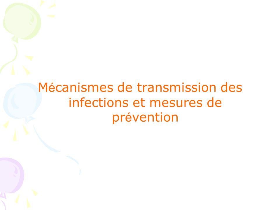 Mécanismes de transmission des infections et mesures de prévention