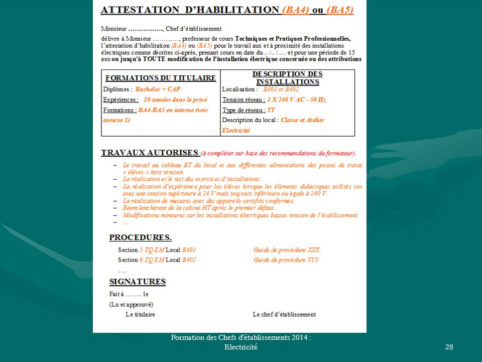 Formation des Chefs d établissements 2014 : Electricité