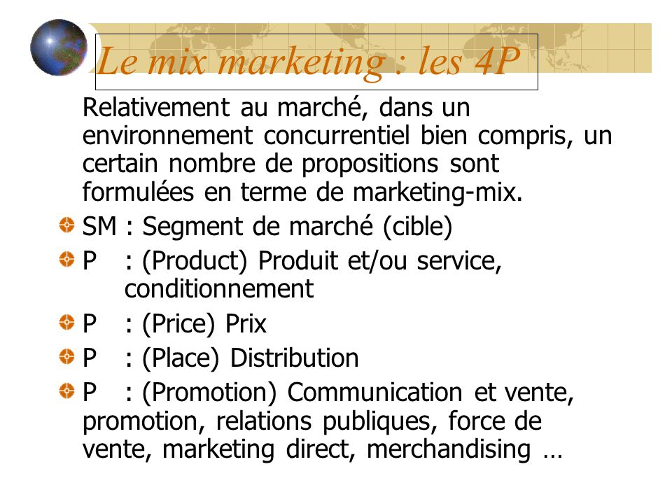 Le mix marketing : les 4P