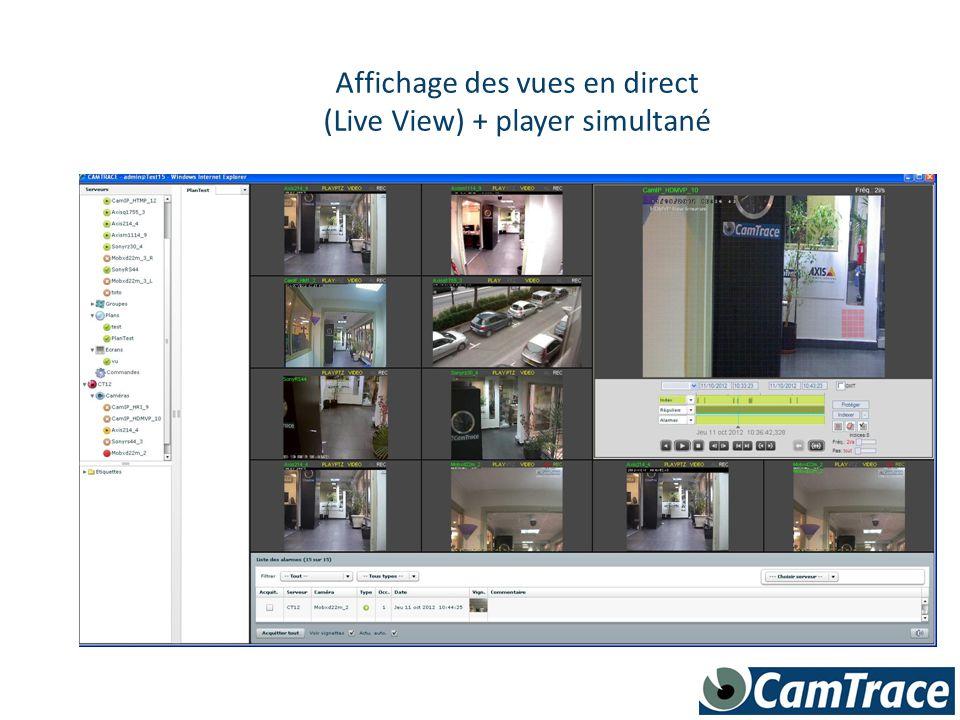 Affichage des vues en direct (Live View) + player simultané