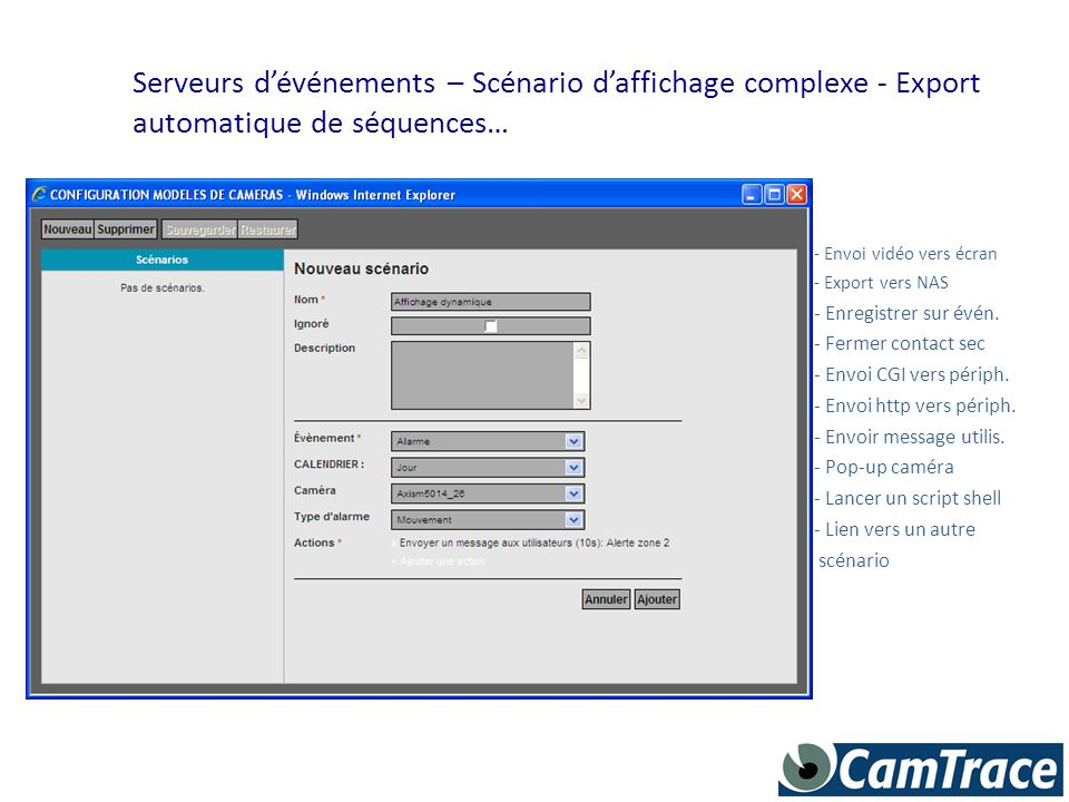 Serveurs d'événements – Scénario d'affichage complexe - Export automatique de séquences…