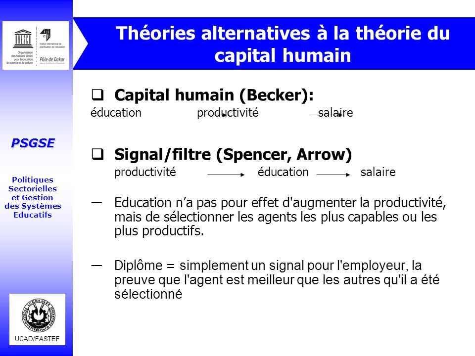 Théories alternatives à la théorie du capital humain