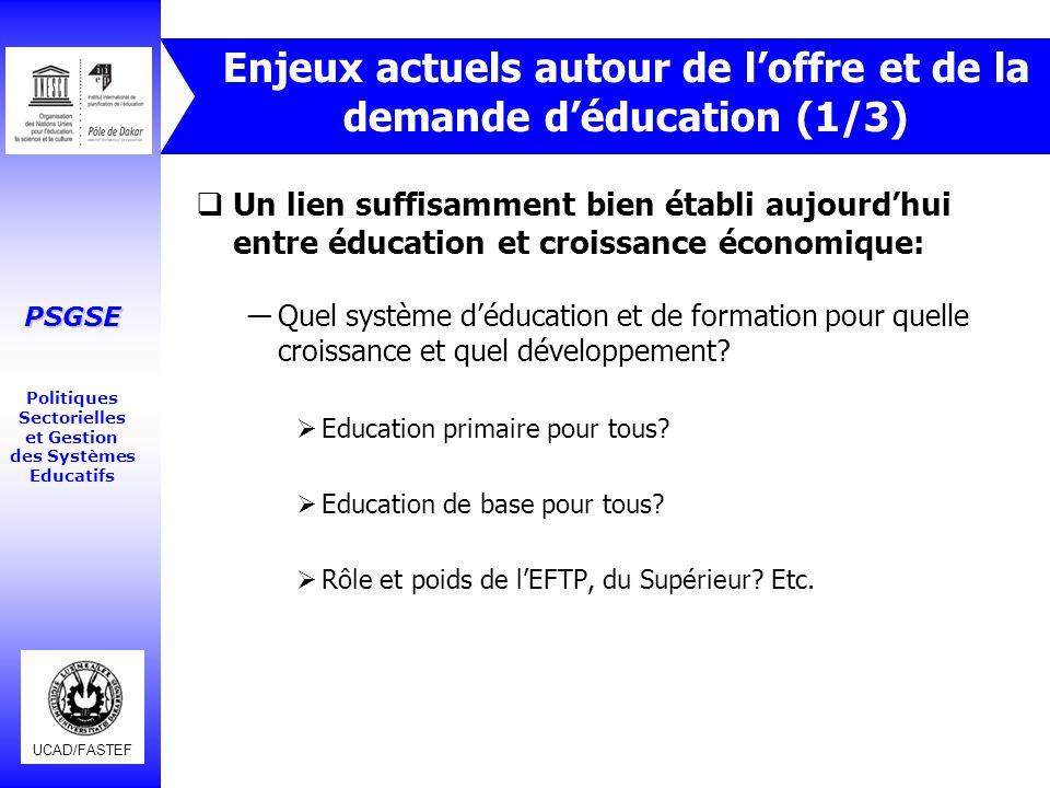 Enjeux actuels autour de l'offre et de la demande d'éducation (1/3)