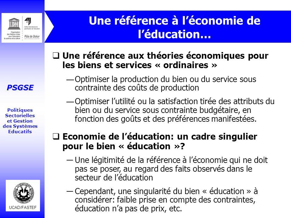 Une référence à l'économie de l'éducation…