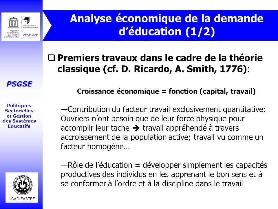 Analyse économique de la demande d'éducation (1/2)