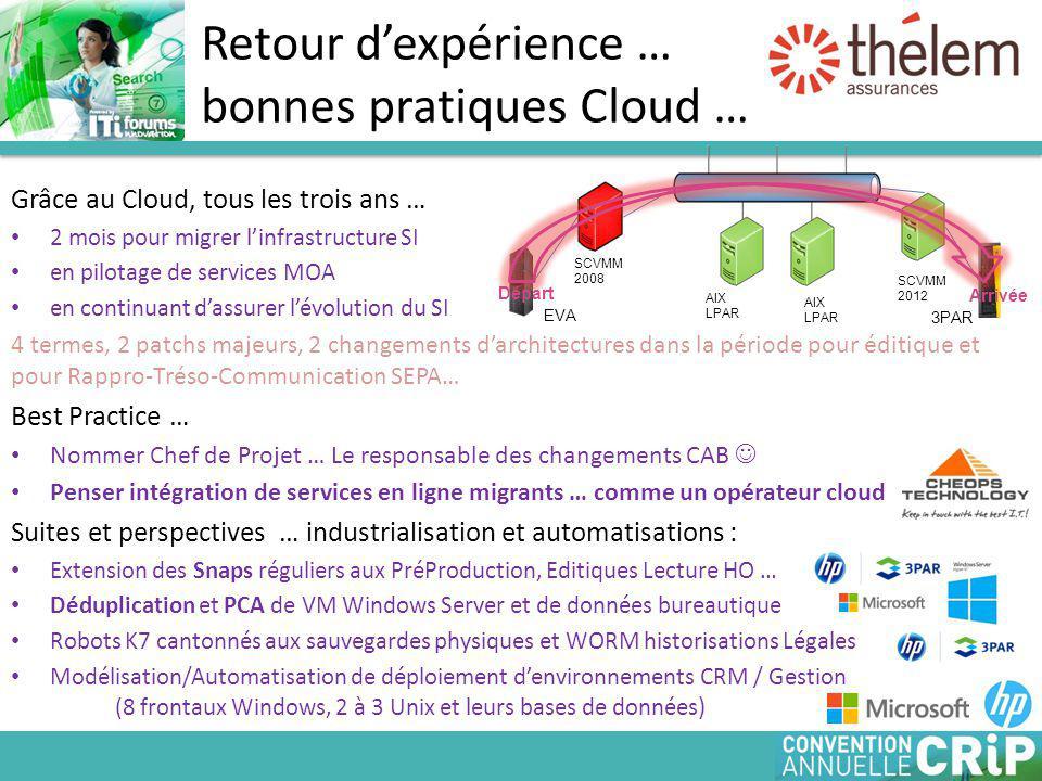 Retour d'expérience … bonnes pratiques Cloud …